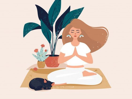 yoga woman sitting in a  prayer position illustration with nude tones . there is a  palm tree and cactus in the background.  caribu mommy mom mother's blog that gives parenting advice for kids, children, toddlers, preschoolers.