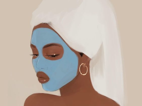 illustration of a darker skinned girl with a towel around her hair and a blue mask on her skin. caribu mommy mom mother's blog that gives parenting advice for kids, children, toddlers, preschoolers.