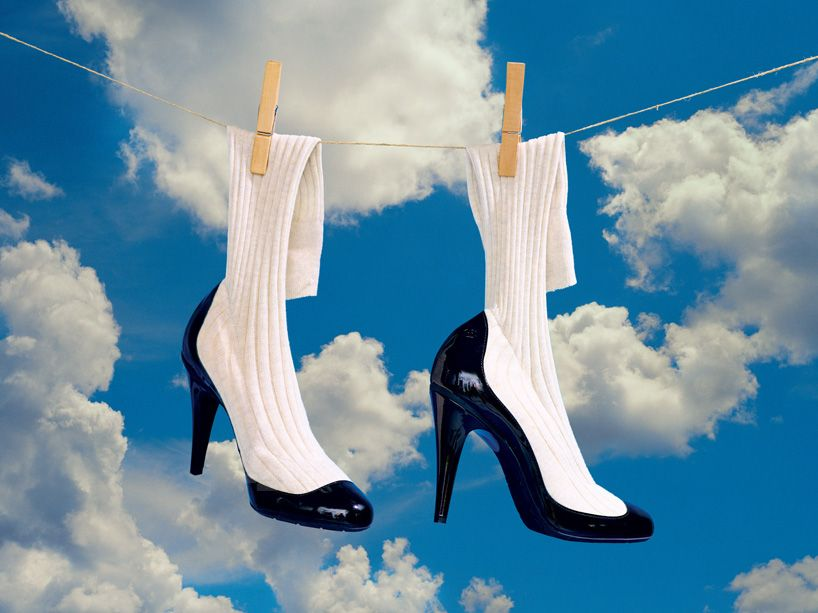 socks and heels hanging with clouds in the background. caribu mommy mom mother's blog that gives parenting advice for kids, children, toddlers, preschoolers.